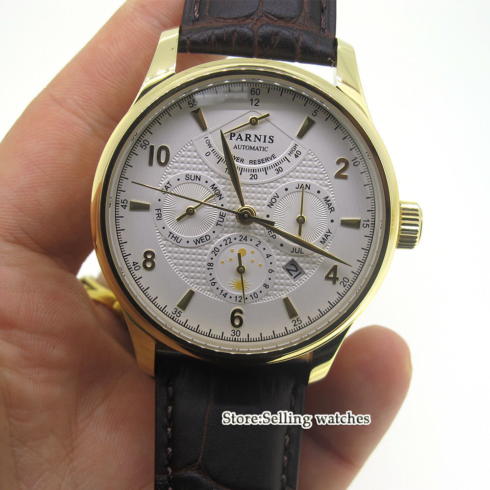 42mm parnis white dial Golden yellow case Multifunction Sapphire Glass 26 jewels miyota 9100 Automatic mens Watch 42mm parnis black dial multifunction sapphire glass black leather strap 26 jewels miyota 9100 automatic mens watch