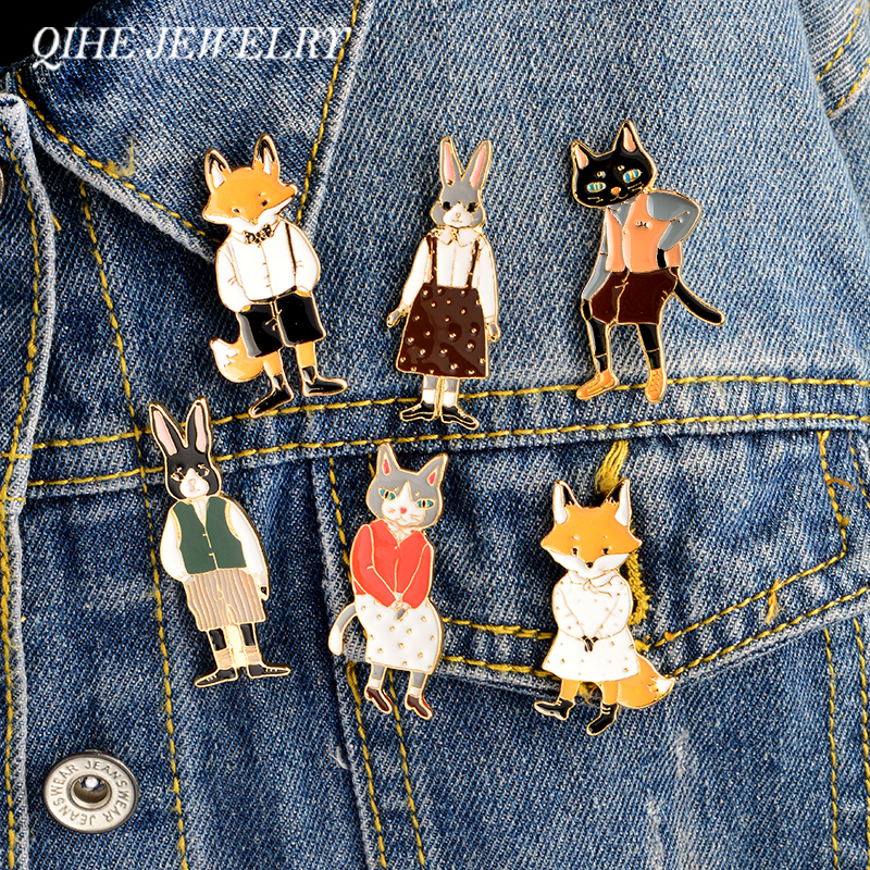 QIHE JEWELRY 6pcs/set Animal Pin Set Rabbit/Fox/Cat Enamel Pin Badges Hat Backpack Cartoon Animal Couple Jewelry Gift For Lover