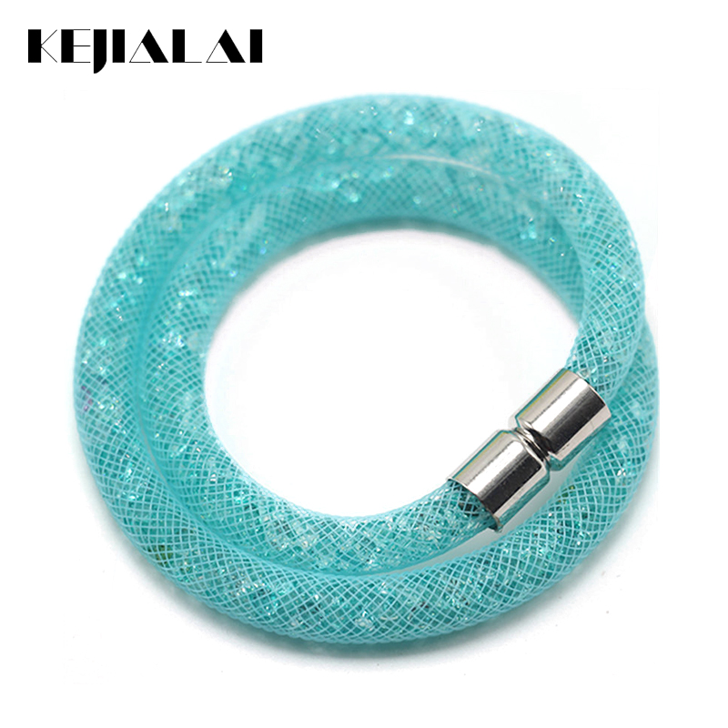 Kejialai Double Net Multicolor Mesh Crystal Bracelet Tiny Resin Crystal Filled Magnetic Wrap Bracelet For Women Bracelet KJL016