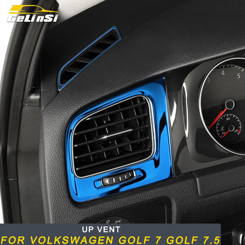 Gelinsi For Volkswagen Golf 7 Golf 7.5 Car Styling Up A/C Vent Outlet Panel Cover Trim Frame Sticker Interior Accessories