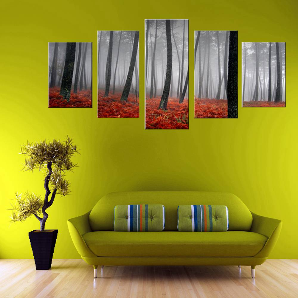 Modern Canvas Painting Wall Art Picture Dirt Road Deciduous Forest ...