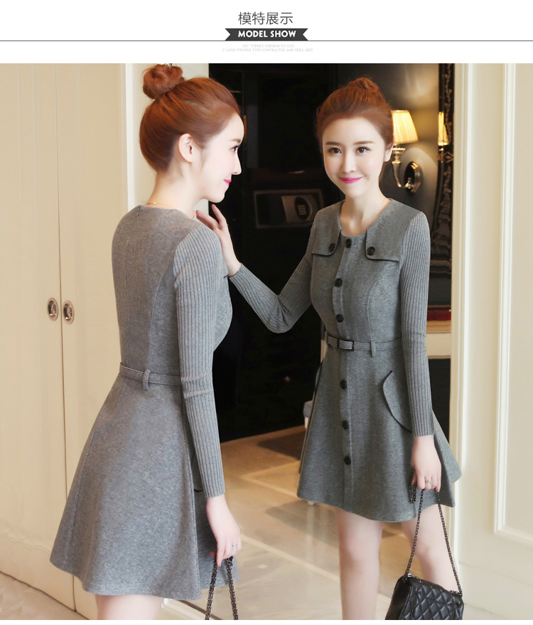 winter new round collar single-breasted cloth dress belt buttons A word women dresses Korean fashion outfit lady vogue vestido 28