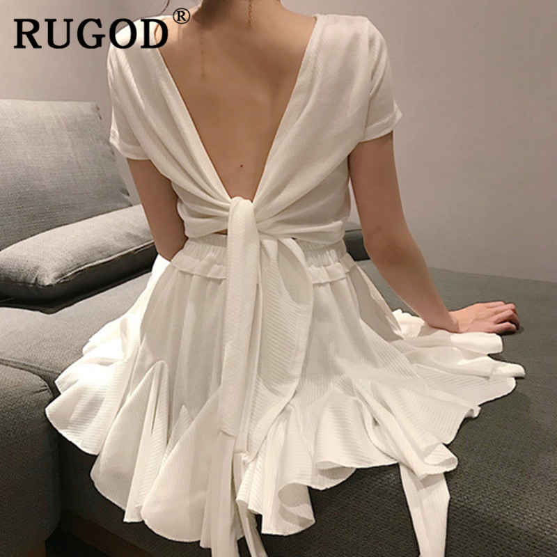 RUGOD Sexy lace up white skirt suit women 2019 Korean chic short style tops and the ruffles mini skirts female summer clothing