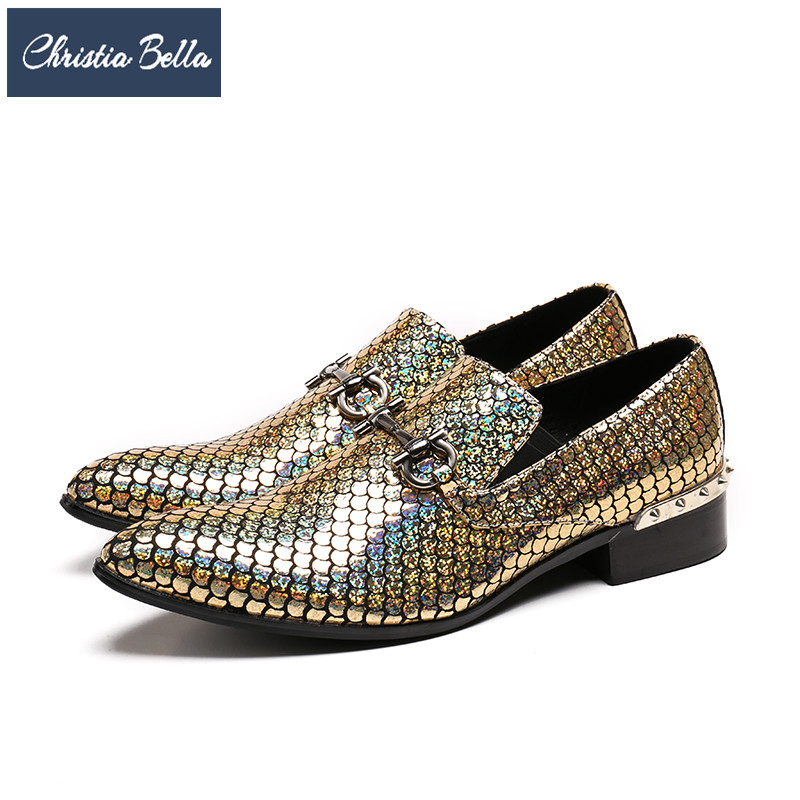 Christia Bella Brand Fashion Men Dress Shoes Genuine Leather Wedding Party Formal Shoes Gold Pointed Toe Business Shoes Big Size letters printed women slip on casual canvas shoes new 2017 ladies flats with ribbons round toe free shipping