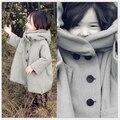 Новый Бренд дети дети зима люкс девочки хлопок классический теплая куртка верхняя одежда шерстяные пальто траншеи пальто шерстяное платье