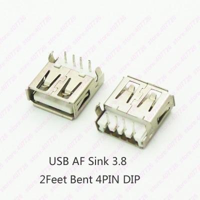 10PCS USB 2.0 Jack Female Socket USB Connector Female Sink 3.8 4P DIP 90degree 2 Bent Feet PCB Mountng