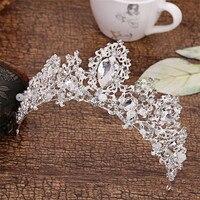 Charm Hair Jewelry Baroque Luxury Rhinestone Crystal Queen King Crowns And Tiaras Big Princess Bridal Wedding