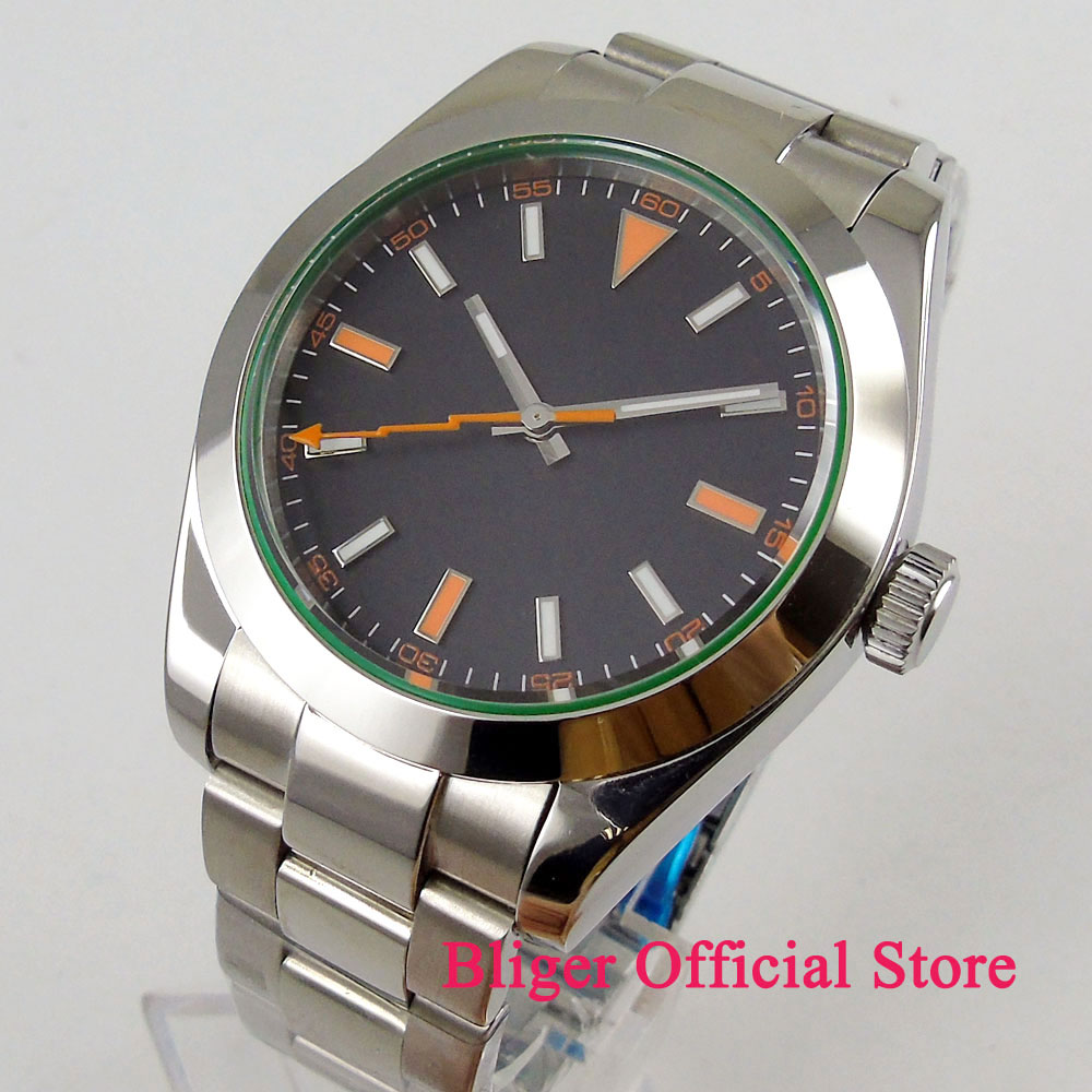 40mm Sterile Time Watch Black Dial Luminous Saphire Glass Orange Hand Polished Bezel MIYOTA 8215 Automatic Movement Men's Watch