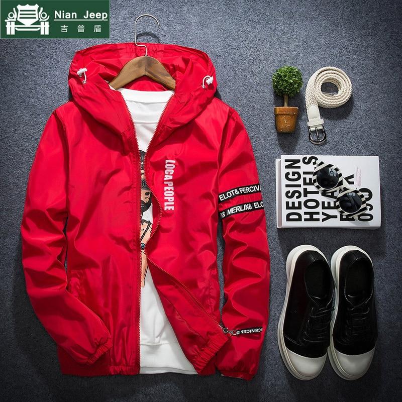 2018 Spring Autumn Thin Windbreaker Jacket Men Plus Size M-4XL jaqueta masculina Slim Fit Young Men Hooded bomber jacket men