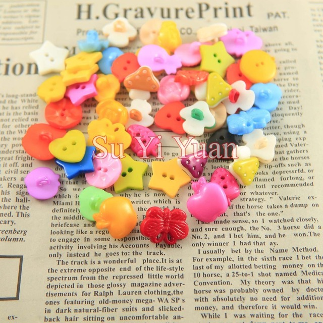 300pcs/lot 12mm Mixed models. Color mixingPlum blossom resin buttons Apparel accessory clothes sewing button DIY work