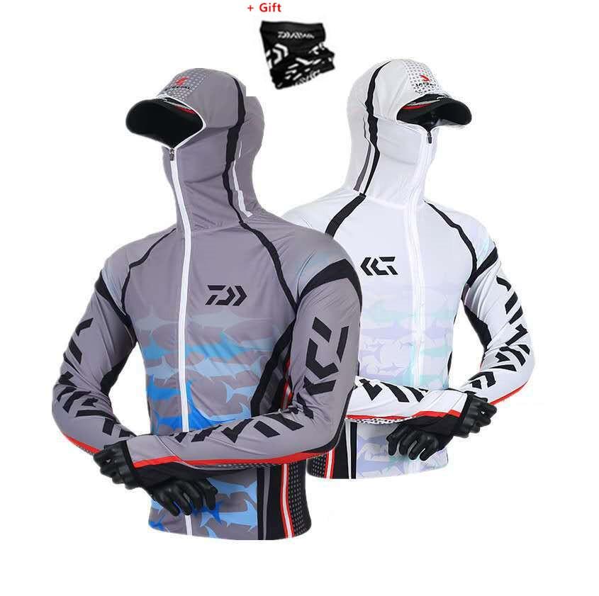 DAIWA 2019 New Arrival Men Fishing Clothing Outdoor Hooded Zipper Fishing Shirts Quick Dry Anti UV