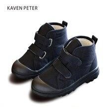 Детские зимние сапоги 2017 зимняя теплая обувь детские ботинки «мартенс» девочек парусиновая обувь черные ботильоны мальчиков повседневная обувь 5.5-12