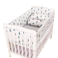 3pcs to 7 pcs Cotton Baby Bedding Set Green Tree Design Cotton Baby Bed Linens Baby Cot Bumper