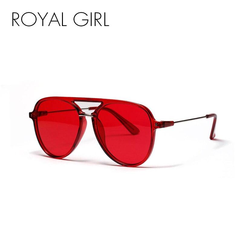 ROYAL FILLE Surdimensionné Transparent Cadre lunettes de Soleil Femmes 2018 Marque Designer Double Pont Pilote Lunettes de Soleil pour Hommes oculos ss638