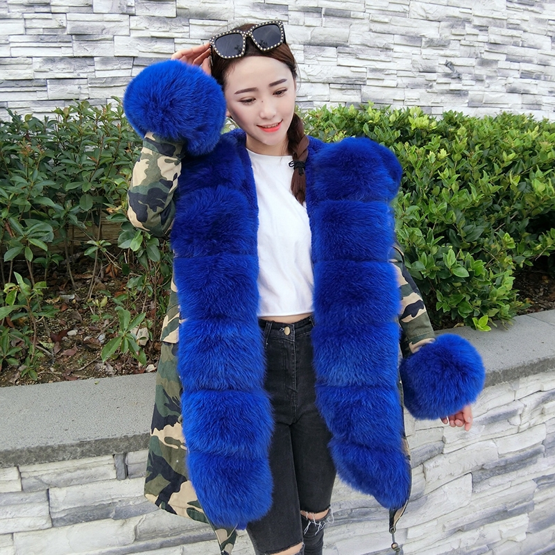 2017 new fox fur collar collar fur coat rabbit fur woman Parker coat long section. 2017 winter new clothes to overcome the coat of women in the long reed rabbit hair fur fur coat fox raccoon fur collar