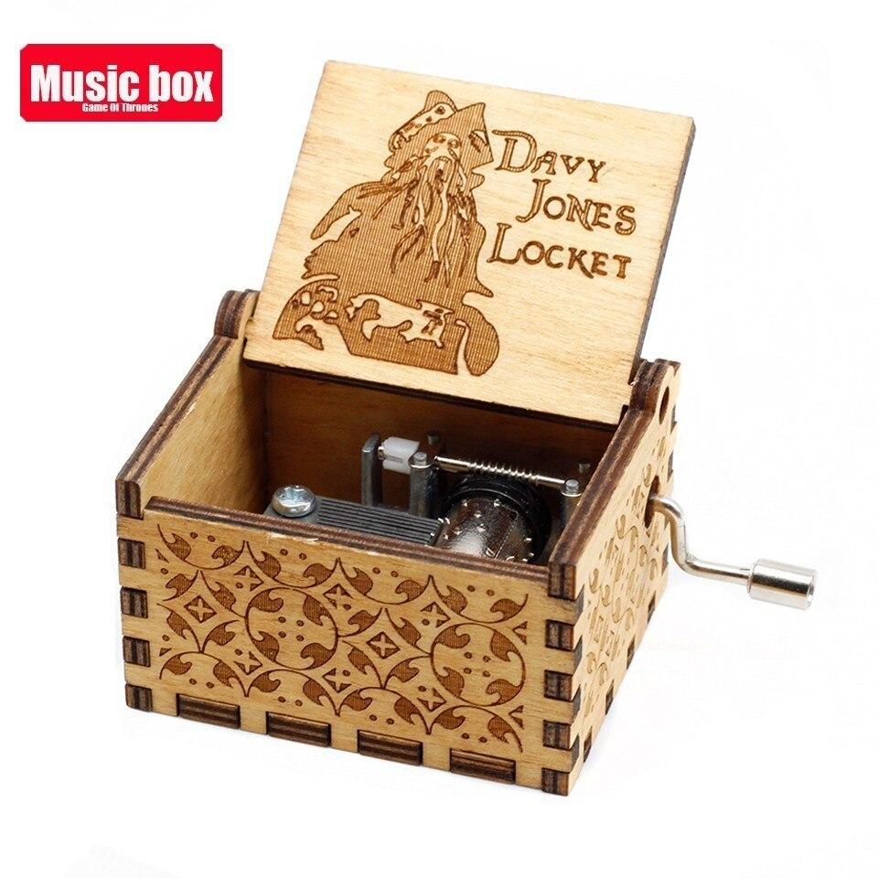 Горячая античная резная деревянная рукоятка Симпсоны игра трон музыкальная шкатулка подарок на день рождения Шкатулка анонимичность украшения Звездные войны - Цвет: H.D Davy Jones