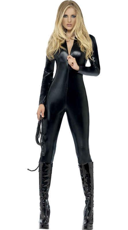 Vocole Hot Sexy Black Zip-Up Wetlook Jumpsuit Faux Leather Spandex Latex Vinyl Bodysuit Catsuit Night Clubwear Erotic