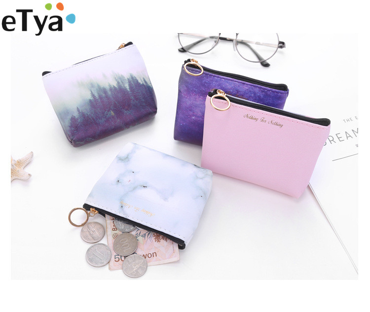 Fashion Women Small Coin Bag Pu Leather Coin Wallet Purse Cool Stars Universe Space Small Coin Money Key Card Holder Case Pouch viktor