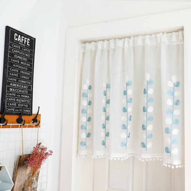 Dunxdeco Sheer Curtain Kitchen Curtains Nordic Fresh Blue Leaves Plant Embroidery Cortinas Store Decor Kitchen Half Tulle Rideau Curtains Aliexpress