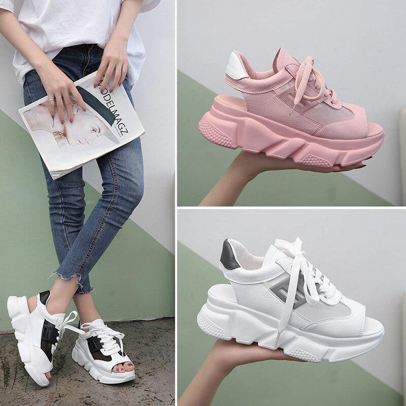 Cutouts Peep Toe Canvas Shoes Hollow Floral Print Breathable Platform Casual Shoes Woman