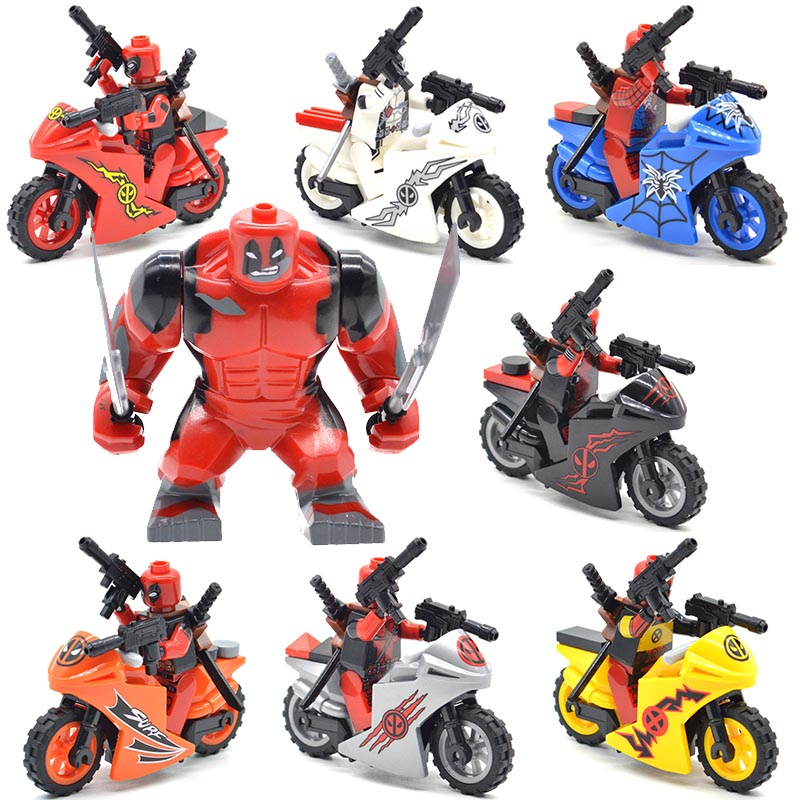 Set Blocks Deadpool with Motorcycles Spiderpool Super Heroes Building Bricks Gifts Toys for Children DLP9079 60pcs lot 108 111 ghostbusters super heroes figures with weapons building blocks bricks toys for children birthday gifts