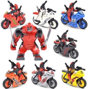 Set Blocks Deadpool with Motorcycles Spiderpool Super Heroes Building Bricks Gifts Toys for Children DLP9079