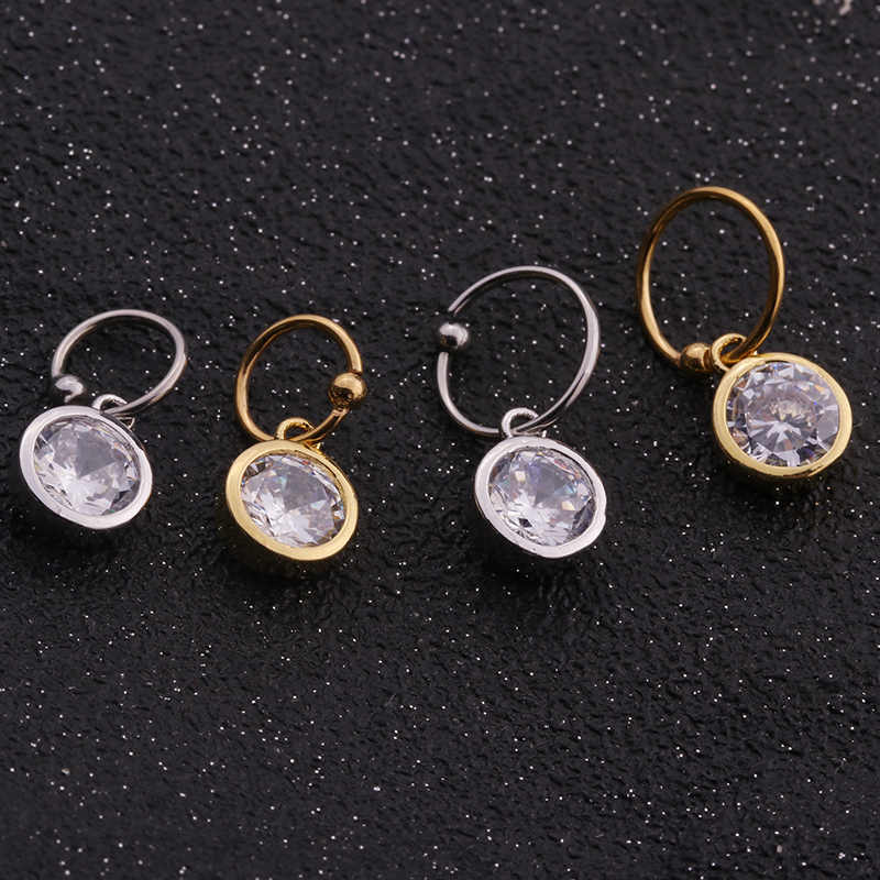 1piece bow knot water drop silver gold steel hoop brass CZ pendant daith earring rook tragus cartilage piercing jewelry
