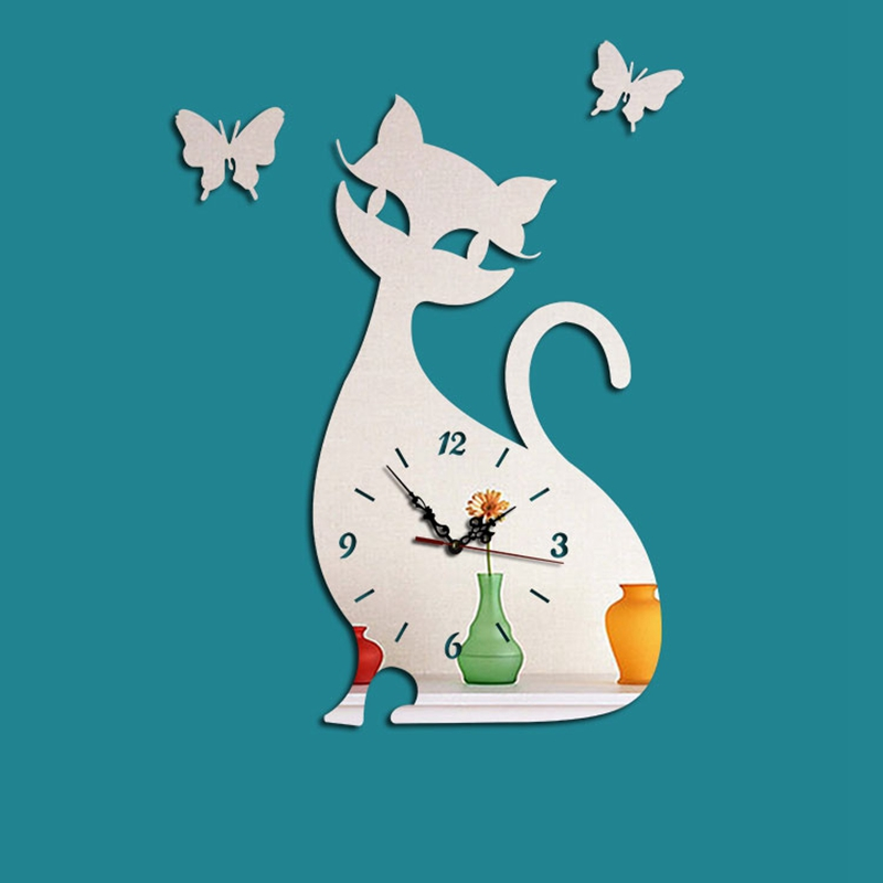20.7X27.9Cm Cat Sticker Children Wall Clock Designer Mirror Clock Wall Clock Cat Butterfly Wallclock Home Decor Watch Superior D