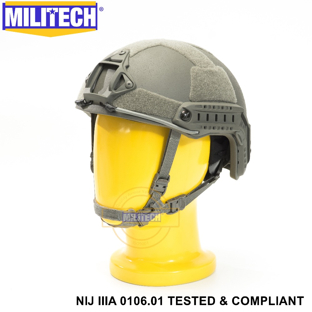 ISO Certified MILITECH FG NIJ Level IIIA 3A FAST OCC Liner High XP Cut Bulletproof Aramid Ballistic Helmet With 5 Years Warranty