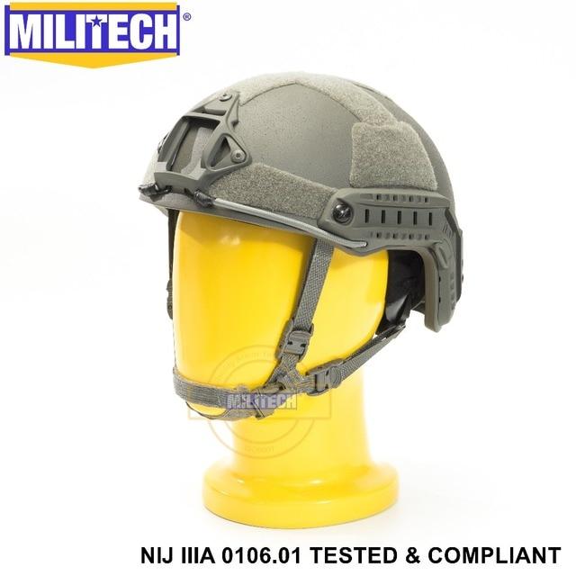 ISO Certified MILITECH FG NIJ Level IIIA 3A FAST OCC Liner High XP Cut Bulletproof Aramid Ballistic Helmet With 5 Years Warranty