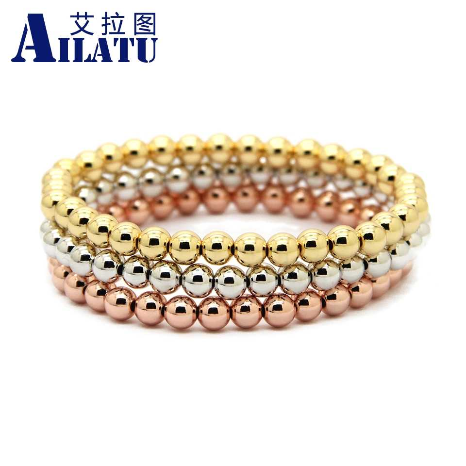 Ailatu 10pcs/lot 6mm Rose and Gold-Color Plated Round Copper Beads Men Woman Birthday Gift Stretch Bracelet Jewelry