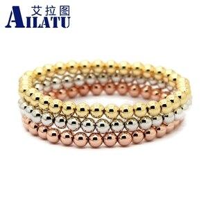 Image 1 - Ailatu 10 pièces/lot 6mm Rose et couleur or plaqué perles de cuivre rondes hommes femme cadeau danniversaire Bracelet extensible bijoux