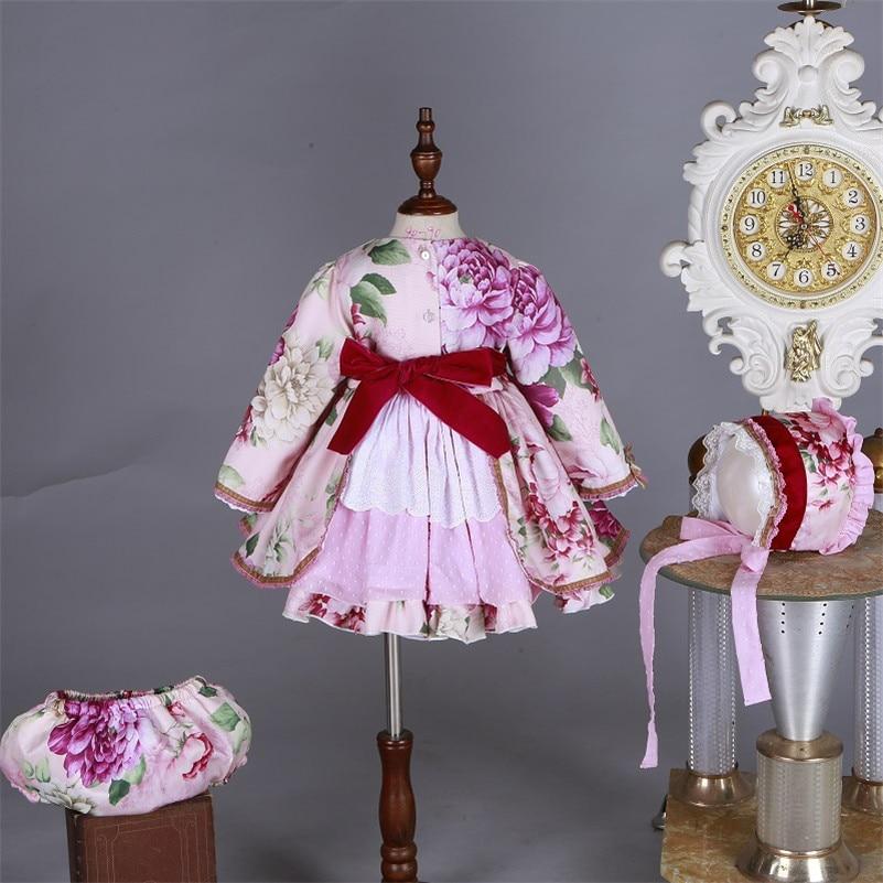En gros enfants Boutique robe florale pour filles enfants espagnol Palace à manches longues robe ensembles bébé anniversaire mignon robe de bain G046 - 3