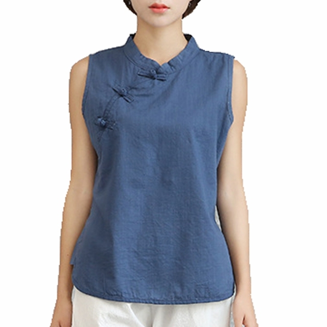 064c7c09580d Traditional Chinese Clothes For Women Mandarin Collar Fog Button Sleeveless  Top HIgh Quality Cotton Linen Summer Tank Tops