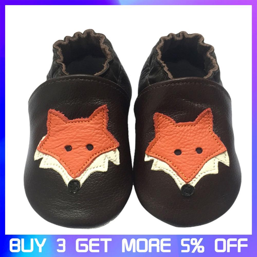 Raposa bonito Dos Desenhos Animados Da Criança Infantil Sapatos de Couro 0-24M de Fundo Macio Sapatos de Bebê de Couro Genuíno Primeiro Walkers Outono