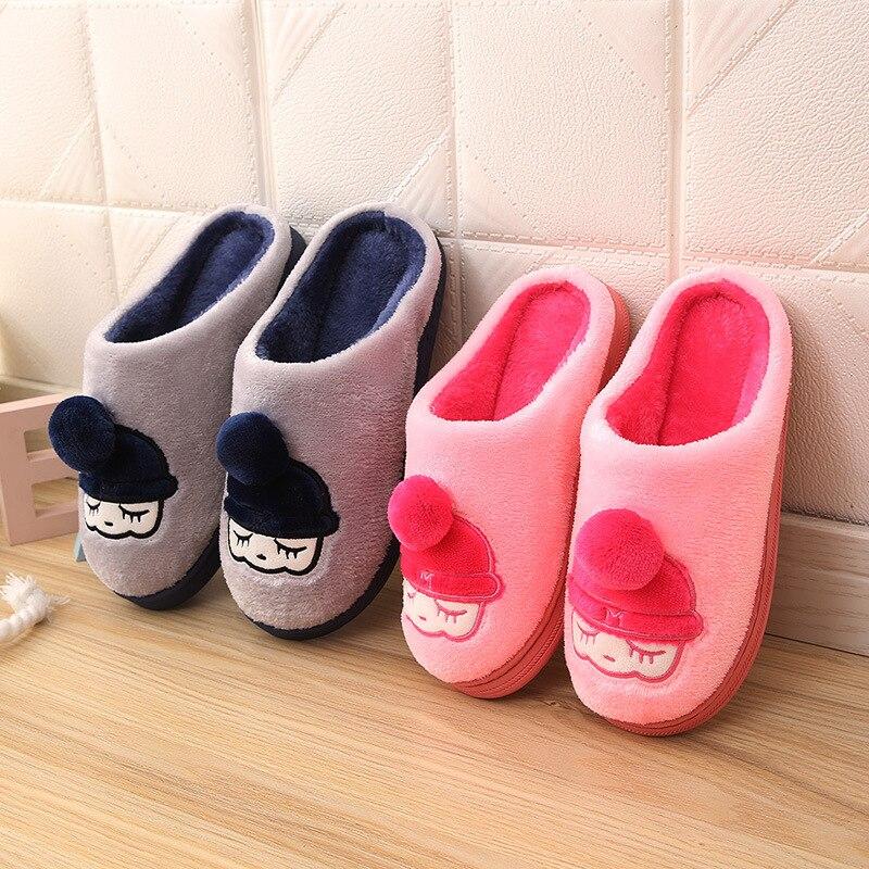 Winter Home Slippers Cartoon Girl Non-slip Warm Indoors Bedroom Floor Shoes Plush Slippers Women Faux Fur Slides Flip Flops