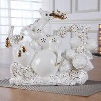 Современные простой керамической животного украшения дома гостиная украшение тыквы пятнистый долголетия, персик олень аксессуары свадебн