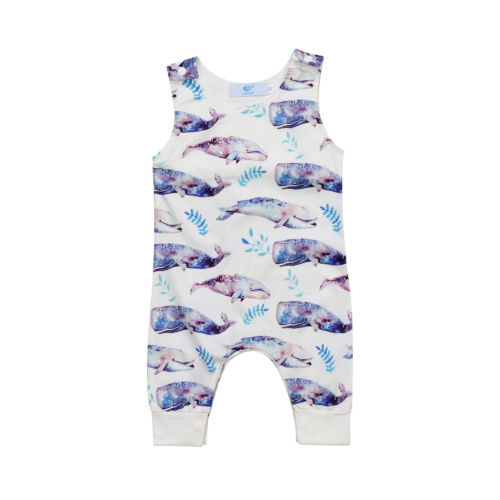 Toddler Baby Boys Girls Whale Romper Whale Round Neck Sleeveless Boy Girl Clothing Summer Jumpsuit Outfits Clothes 0-24M