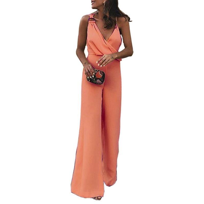 Women Office Sleeveless Asymmetrical Jumpsuits Fashion Lady Solid Elegant V Neck Jumpsuit OL Sling Jumpsuit Romper WS8766Z