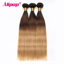 Ombre Brazilian hair Straight 3 Bundles 3 Tone 1B/4/27 Colored Human Hair Weave Bundles Deal Non Remy Hair Extensions ALIPOP(China)