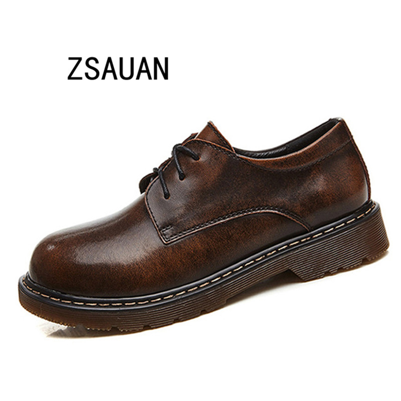 ZSAUAN 2019 Autumn Winter Women Oxford Shoes Flats British Style Casual Leather Shoes For Girls Lace