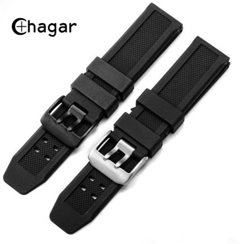 23mm Soft Silicone Natural Rubber Watch Band Men Black Outdoor Military Sport Diving Watch Strap For Luminox Accessories