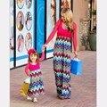 XXS-3XL Семейный Стиль Набор Мать Дочь Платья Одежда Волны Мама и Дочь Платье Семья Clothing Родитель-Ребенок Набор