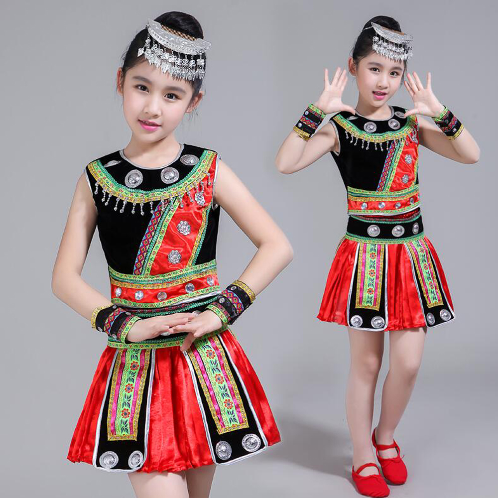 Headdress Sequined Girls Hmong Chinese Folk Dance Costumes Kids Performance Dancing Clothing Festival Outfits Tops And Skirt