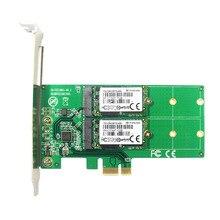 PCI express Dual M.2 SATA SSD Card PCIe to 2x NGFF B + M Key Slot Adapter with PCI-e Low Profile Bracket ASM1061