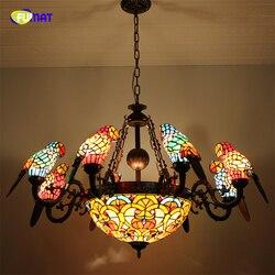 FUMAT rocznika stylu Tiffany witraż 8 Arms papugi żyrandole z odwrócony wisior sufitowy lampy do salonu domu Dec