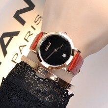 2015 femmes de luxe célèbre marque guou simple motif montre femmes bande de cuir véritable montre à quartz femmes horloge causalité bracelets
