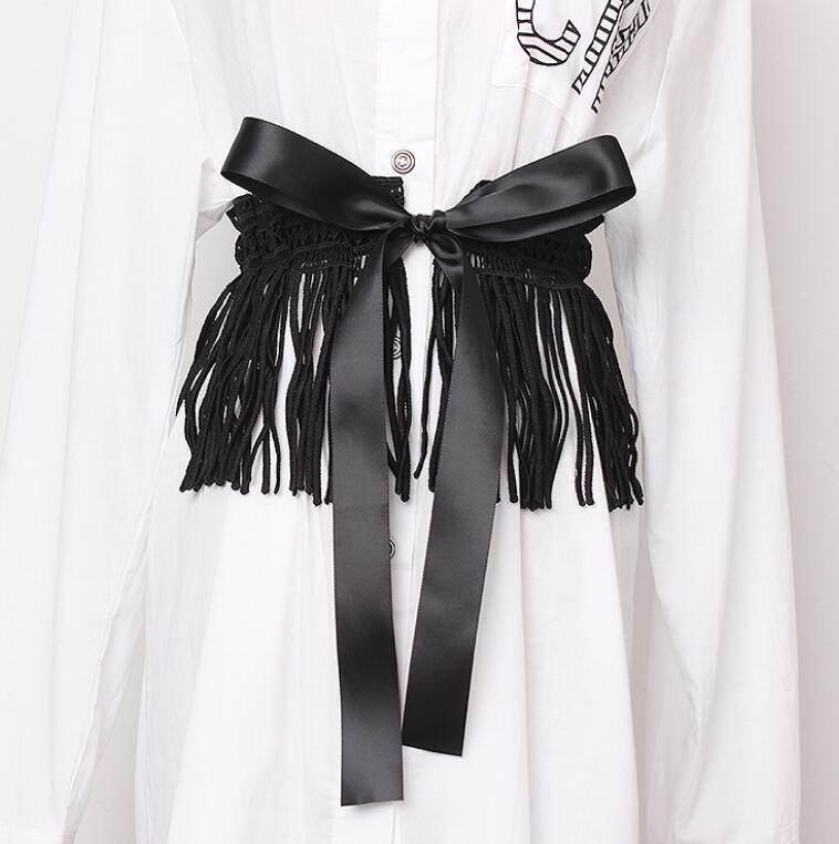 Women's Runway Fashion Long Tassel Lace Cummerbunds Female Dress Corsets Waistband Belts Bow Decoration Wide Belt R1405