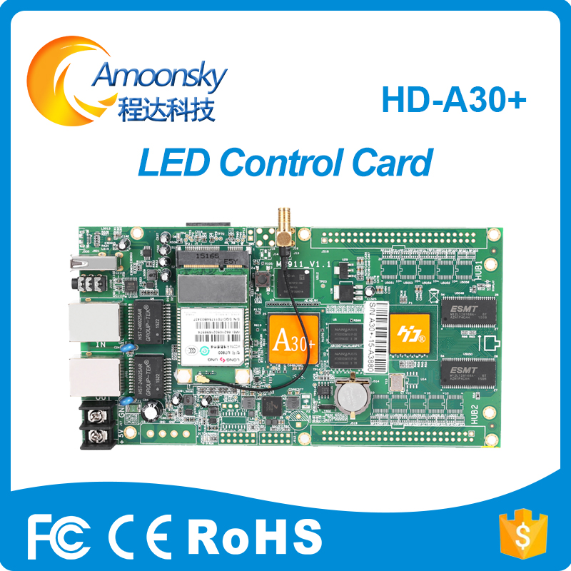 HD-A30+ Full color led control Card Asynchronous control card for rgb led avdertising display contoller card original factory a30 hd a30 full color led dpanel controller large display sending card and sensor box support ir temperature humidity brightness