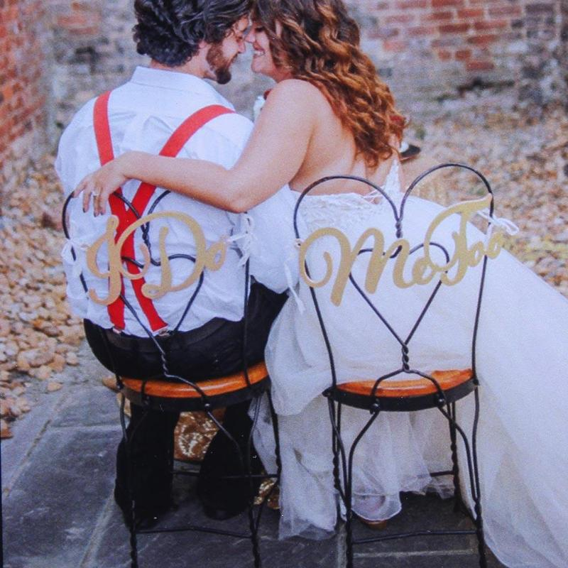 2pcs/ set Romantic Bride Groom Chair Wood Signs Photo Props Wedding Ceremony Hanging Sign Plaques Set Wooden Decor